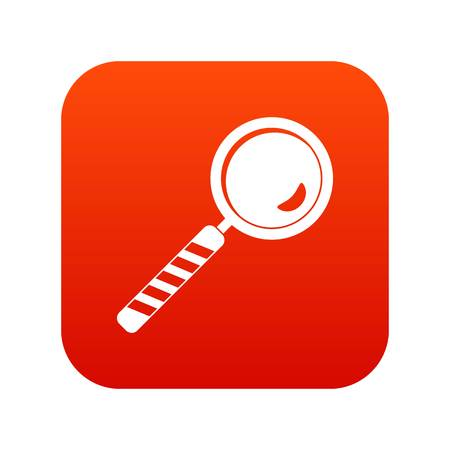 Magnifying glass icon digital red for any design isolated on white vector illustration Illustration