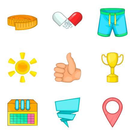 Sport round icons set, cartoon style. Illustration