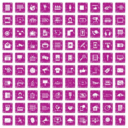 100 information technology icons set grunge pink