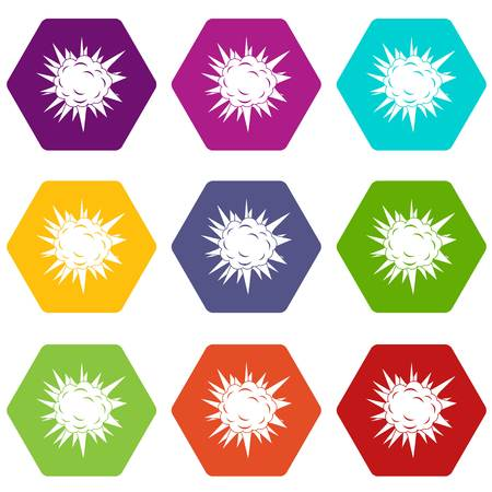 Terrible explosion icon set color hexahedron Illustration