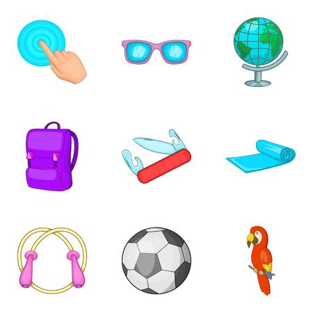 Additional processing icons set, cartoon style