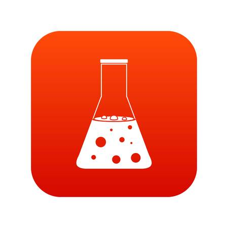 Chemical flask icon digital red.