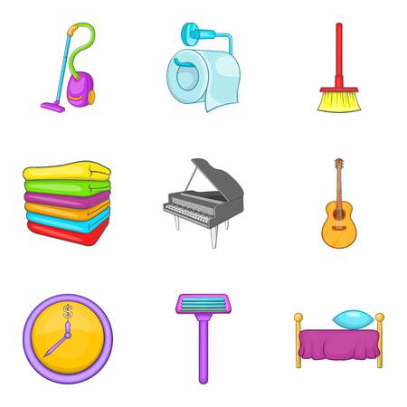 Domestic affair icons set, cartoon style