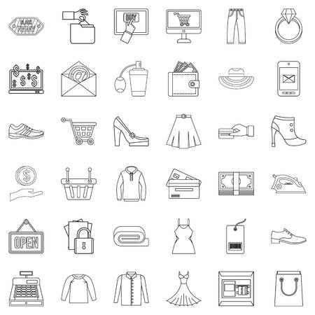 Online buying icons set, outline style Vectores