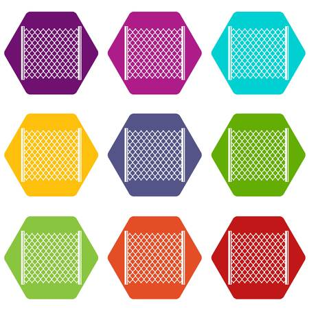 Perforated gate icon set color hexahedron