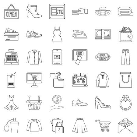 Market online icons set, outline style