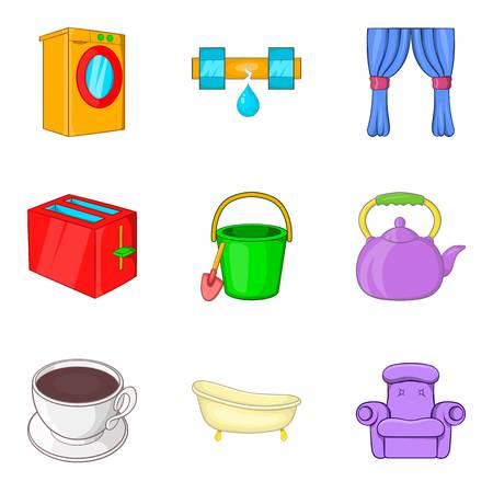 Pour icons set, cartoon style vector illustration.