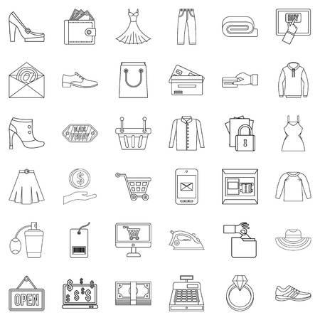 Web buying icons set, outline style