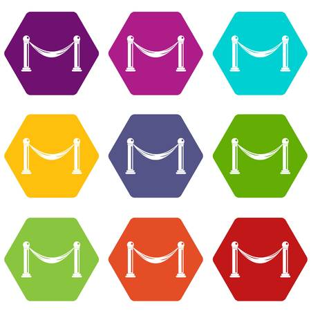 Barrier icon set in multi-color hexahedron illustration.