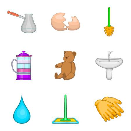Water cleaning icons set, cartoon style