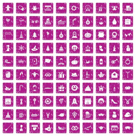 100 holidays icons set grunge pink