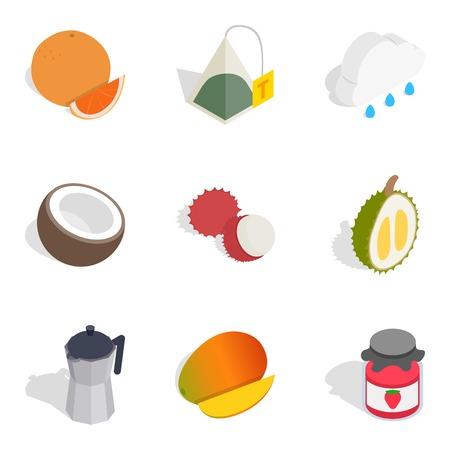 Evening tea icons set, isometric style Illustration