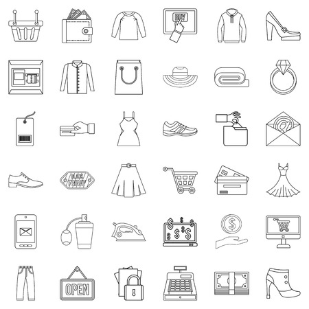 Online wholesale trade icons set, outline style