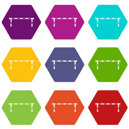 Striped barrier icon set color hexahedron