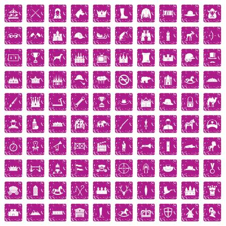 100 horsemanship icons set grunge pink Vettoriali