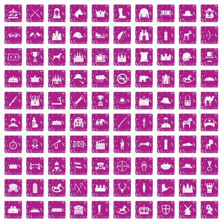 100 horsemanship icons set grunge pink Stock Illustratie