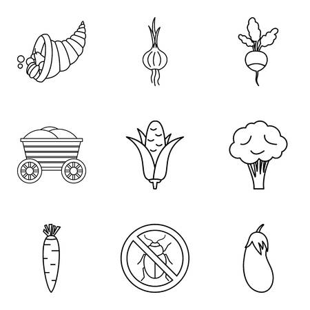 Native home icons set, outline style