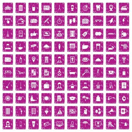 100 hotel services icons set grunge pink 向量圖像