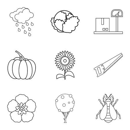Native house icons set, outline style