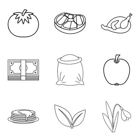 Paternal house icons set, outline style