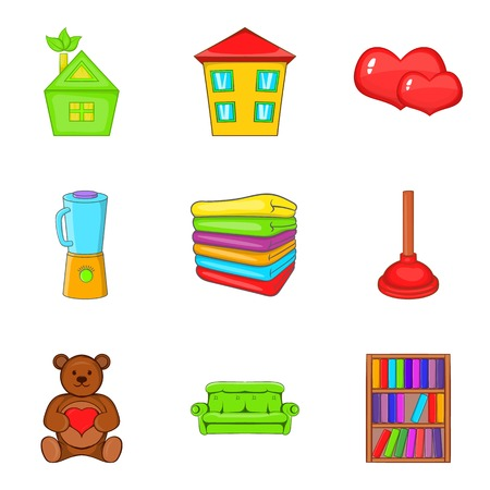 Orphan house icons set, cartoon style vector illustration. Illustration