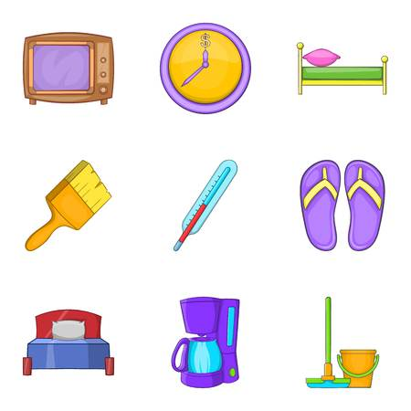 Foster home icons set, cartoon style Illustration