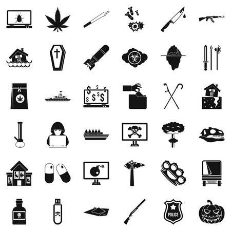 Callousness icons set, simple style vector illustration.