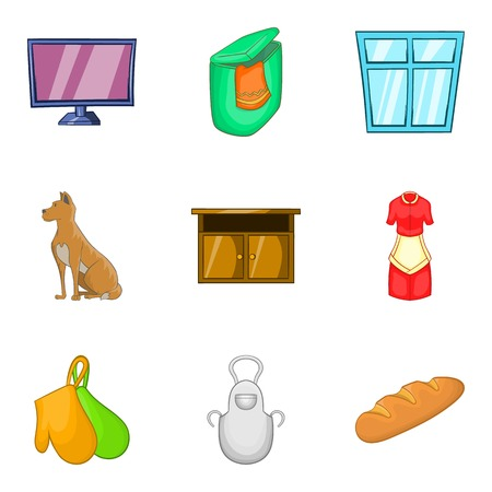Substitute family icons set, cartoon style
