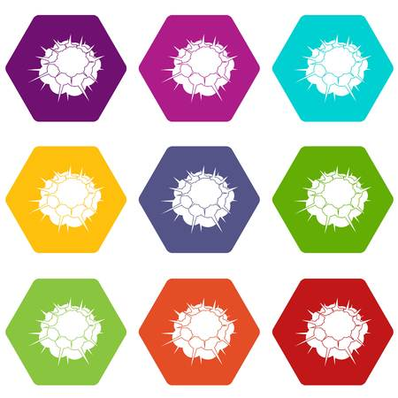 Atomic explosion icon set in multi-color hexahedron illustration.