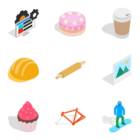 Set of materials icons set, isometric style Illustration