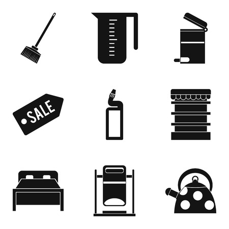 Domestic personnel icons set, simple style