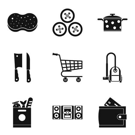 Homemaking icons set, simple style  イラスト・ベクター素材