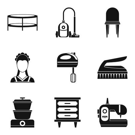 Lodging place icons set, simple style  イラスト・ベクター素材