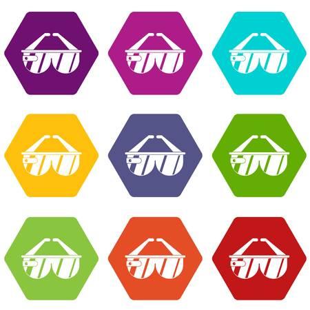 Conjunto de iconos de auriculares del juego hexaedro de color Ilustración de vector