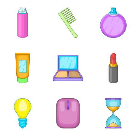 Clean out icons set, cartoon style vector illustration.
