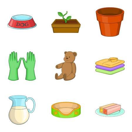 Multiroom home icons set, cartoon style  イラスト・ベクター素材