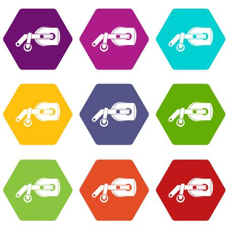 Game reality glasses icon set color hexahedron 向量圖像