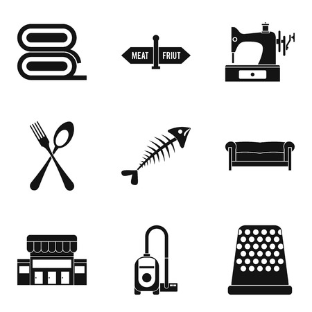 Domestic staff icons set, simple style vector illustration.
