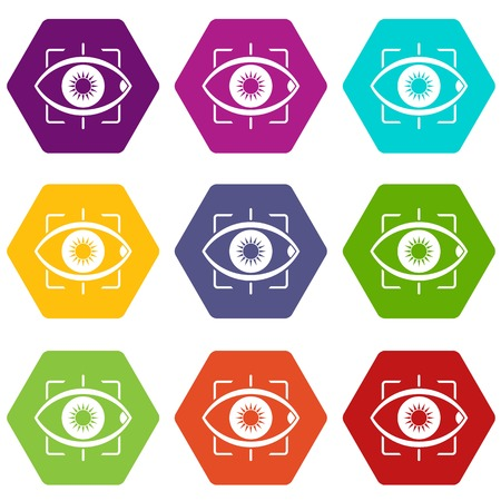 Eye icon set color hexahedron Illustration