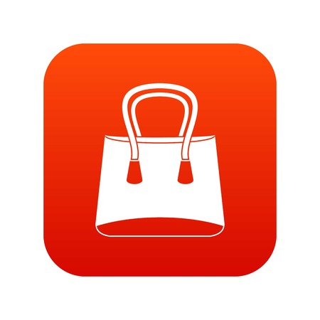 Small woman bag icon digital in red square illustration on white background.