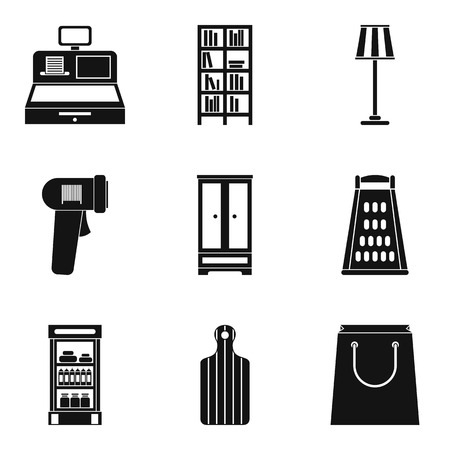 Mansion cleaning icons set, simple style vector illustration.  イラスト・ベクター素材