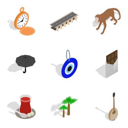Paradise trip icons set, isometric style