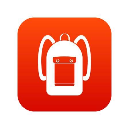 Backpack icon digital red Illustration