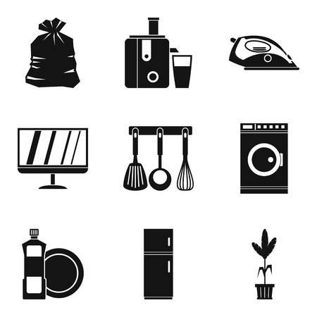 Sleeping case icons set, simple style