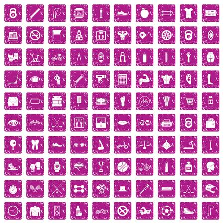 100 kettle bell icons set grunge pink vector illustration. Stock Illustratie