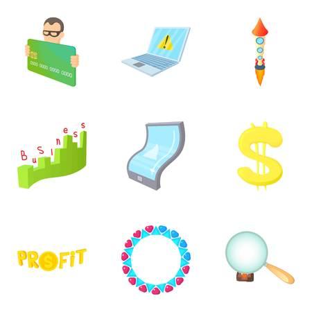 Money trade icons set, cartoon style