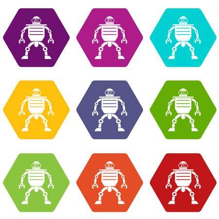 Humanoid robot icon set color hexahedron Illustration