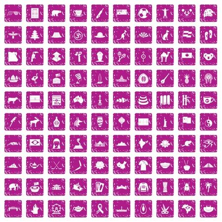 100 landmarks icons set grunge pink Illustration