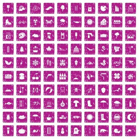100 landscape icons set grunge pink Stock Illustratie