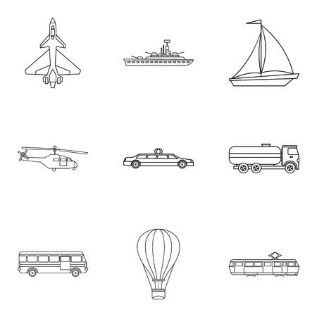 Passenger vehicle icons set, outline style